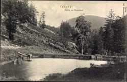Postcard Tabarz im Thüringer Wald, Partie im Felsental, Teich