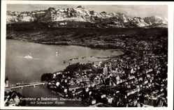 Postcard Konstanz am Bodensee, Rheinausfluss mit Schweizer Alpen, Ort