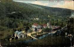 Postcard Thale im Harz, Blick auf Hubertusbad, Wald, Berg, Häuser, Park