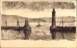 Künstler Ak Lindau im Bodensee Schwaben, Blick auf die Hafeneinfahrt, Leuchtturm