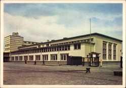 Postcard Bremerhaven Niedersachsen, Blick auf den Bahnhof am Meer, Straßenseite