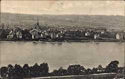 Postcard Mehlem Bonn in Nordrhein Westfalen, Flusspartie mit Blick auf den Ort