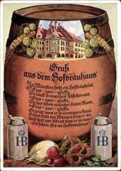 Künstler Ak München, Gruß aus dem Hofbräuhaus, HB Bier, Rettich, Bretzel