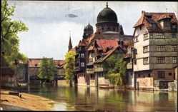 Künstler Ak Nürnberg in Mittelfranken Bayern, Insel Schütt, Synagoge