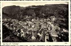 Postcard Bad Berneck im Fichtelgebirge Oberfranken, Totalansicht aus der Höhe