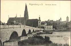 Postcard Regensburg an der Donau Oberpfalz, Steinerne Brücke