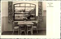 Postcard Prien am Chiemsee Oberbayern, Café Reiter, Innenansicht, Fenster