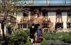 Postcard Oberammergau in Oberbayern, Alte Volkstracht, Pilatushaus