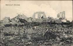 Postcard Mericourt Pas de Calais, Kriegszerstörungen, Zerstörte Kirche
