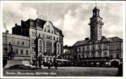Ak Cieszyn Teschen Schlesien, Adolf Hitler Platz mit Rathaus, Denkmal
