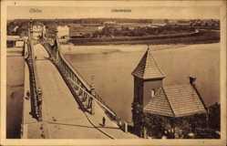 Ak Oława Ohlau Schlesien, Oderbrücke aus der Vogelschau, Fluss