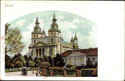 Ak Poznań Posen, Ansicht vom Dom, Straßenpartie, Straßenbahn