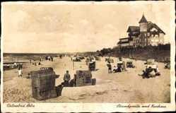 Ak Łeba Leba Pommern, Strandpartie und Kurhaus, Badegäste