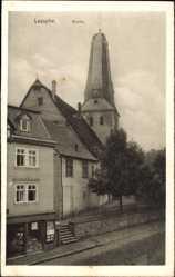 Postcard Bad Laasphe im Kreis Siegen Wittgenstein, Straßenpartie mit Blick auf Kirche
