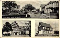 Postcard Tellig Kreis Zell an der Mosel, Gasthaus zur Linde, Jakob Lawen, Schulhaus