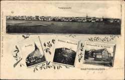 Postcard Mastershausen, Wirtschaft J. A. Christ, Schloss Baldeneck, Kirche, Totale