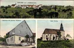 Postcard Liesenich Rheinland Pfalz, Gasthaus von Andreas Wellems, Kath. Kirche