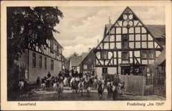 Postcard Bad Fredeburg Schmallenberg im Sauerland, Im Ohl, Ziegen auf der Straße