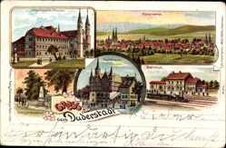 Litho Duderstadt in Niedersachsen, Rathaus, Bahnhof, Ursulinerin Kloster,Denkmal