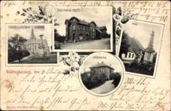 Postcard Rödinghausen, Kaufhaus Pott, Post, Apotheke, Kirche, Kriegerdenkmal