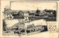 Postcard Asbach Westerwald, Hotel A. Gödtner, Terrasse, Totalansicht der Ortschaft