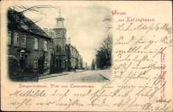 Postcard Kellinghusen, Kriegerdenkmal, Post und Lindenstraße, Glockenturm