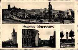 Postcard Düngenheim Rheinland Pfalz, Kath. Kirche, Dorfstraße, Kriegerehrenmal