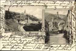 Postcard Monreal Rheinland Pfalz, Blick zur Burg, Totalansicht vom Ort