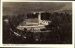 Postcard Baden Baden im Stadtkreis, Fliegeraufnahme,Merkur Berghotel und Aussichtsturm