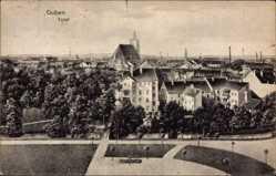 Postcard Guben in der Niederlausitz, Totalansicht der Stadt, Kirche, Platz