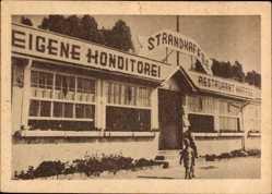 Postcard Grömitz in Ostholstein, Strandcafe Edmund Hagen, Kinder, Fassade