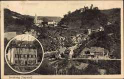 Postcard Isenburg im Sayntal, Hotel zum wiedschen Hof, Frau Riegel, Kirche