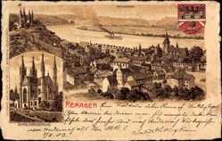 Wappen Litho Remagen im Kreis Ahrweiler, Appolinariskirche, Panorama