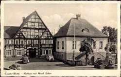 Postcard Erwitte in Westfalen, Rathaus und Hotel Büker, Brunnen