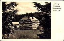 Postcard Rimberg im Hochsauerland, Blick auf Hotel Knoche, Fernsicht