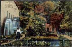 Postcard Ahlbach Rheinland Pfalz, kleine Gartenanlage, Wassermühle