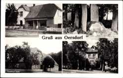 Postcard Oersdorf Ahlerstedt, Denkmal, Gasthof Seba, Schule, Geschäft