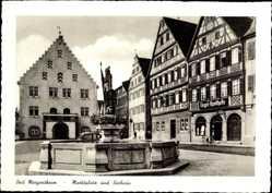 Postcard Bad Mergentheim Tauberfranken, Marktplatz, Rathaus, Engel Apotheke, Brunnen