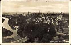 Postcard Nordhorn im Münsterland, Totalansicht der Ortschaft, Kirche, Fluss