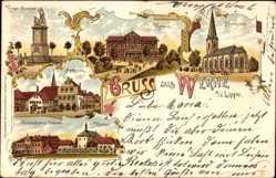 Litho Werne Lippe, Kurhaus, Kirche, Hospital, Denkmal, Marktplatz, Kloster