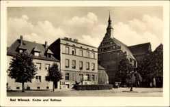 Postcard Bad Wilsnack in der Prignitz, Blick auf die Kirche und Rathaus, Giebel