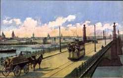 Postcard Mainz in Rheinland Pfalz, Straßenbrücke und Blick auf den Ort, Straßenbahn
