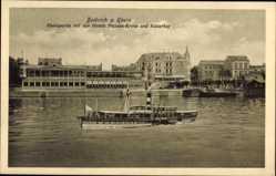 Postcard Biebrich am Rhein, Rheinpartie mit den Hotels Nassau Krone und Kaiserhof