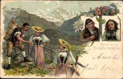 Litho Gruß aus dem Berner Oberland, Schweizer Trachten, Senn