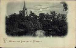 Mondschein Ak Handorf Münster in Westfalen, Kirche mit Fluss