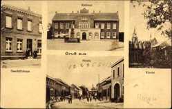 Postcard Hagen in Westfalen Ruhrgebiet, Rathaus, Geschäftshaus, Kirche