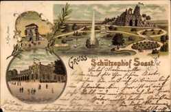 Litho Soest in Nordrhein Westfalen, Schützenhof, Felsengrotte, Osthofentor