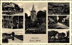 Postcard Heek in Westfalen, Pfarrkirche, Ludgerus Hospital, Bahnhofstraße, Bahnhof