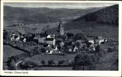 Postcard Helden Attendorn Sauerland, Totalansicht der Ortschaft, Felder, Wald