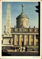 Postcard Potsdam in Brandenburg, Blick auf das alte Rathaus, Obelisk